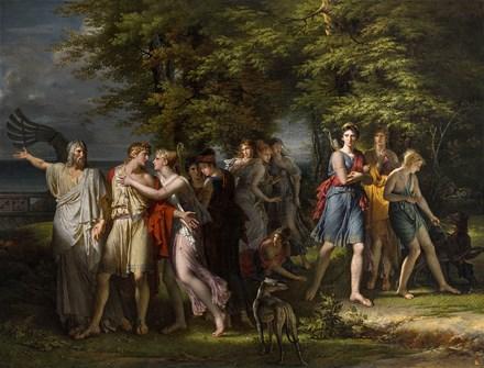 Télémachus, pressé par Mentor, quitte l'île de Calypso