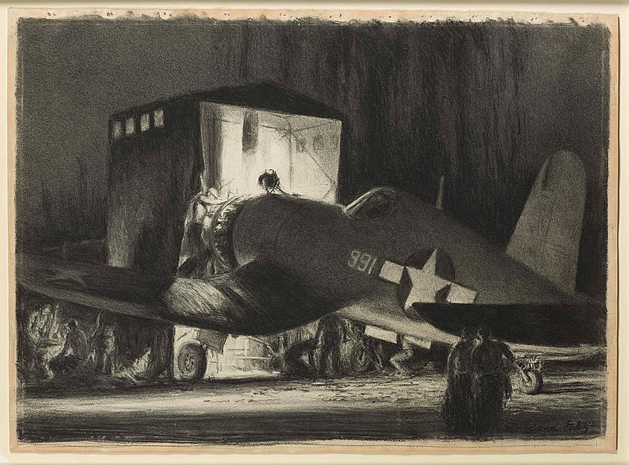 Night Maintenance, Corsair, April 1944